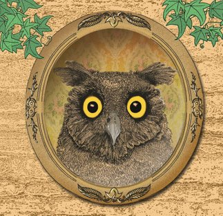 fineline pen ink image of an owl surprised in a mirror against a garden wall with vines album cover for contrast by Get your head straight band illustrated by sally barnett illustrator frome bath bristol illustration