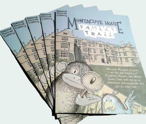 sally barnett illustration designer album cover frome bath bristol montacute house national trust family trail booklet national portrait gallery front cover with jack the monkey and the parrot montacute house illustrator frome bath illustrator bristol illustration