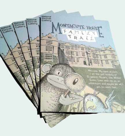sally barnett illustration frome bath illustration illustrator bristol illustration montacute house family trail booklet front cover with monkey and parrot national portrait gallery national trust