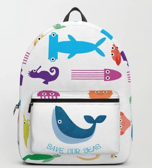illustrator sally barnett surface pattern design illustrated frome bath illustrator bristol illustration rucksack backpack design sea creatures whales dolphins