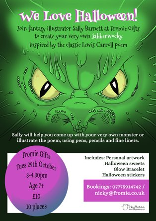 halloween illustration workshop jabberwocky sally barnett illustrator in bristol bath frome